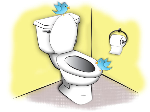 Cartoon Image of a toilet with Twitter birds by Jennifer Smith at Jennifer Smith Design