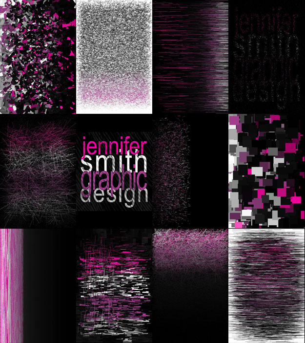 Reinterpreted images of the Jennifer Smith Design Logo created using the Pixel Is Data App